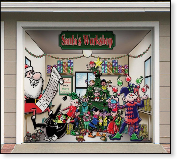 Garage Door Decor Santas Workshop 1car Outdoor