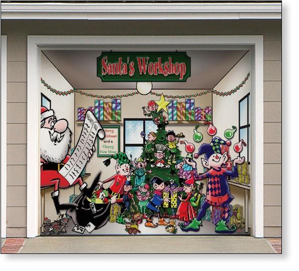 Garage Door Decor Santas Workshop (1car)   Outdoor ...