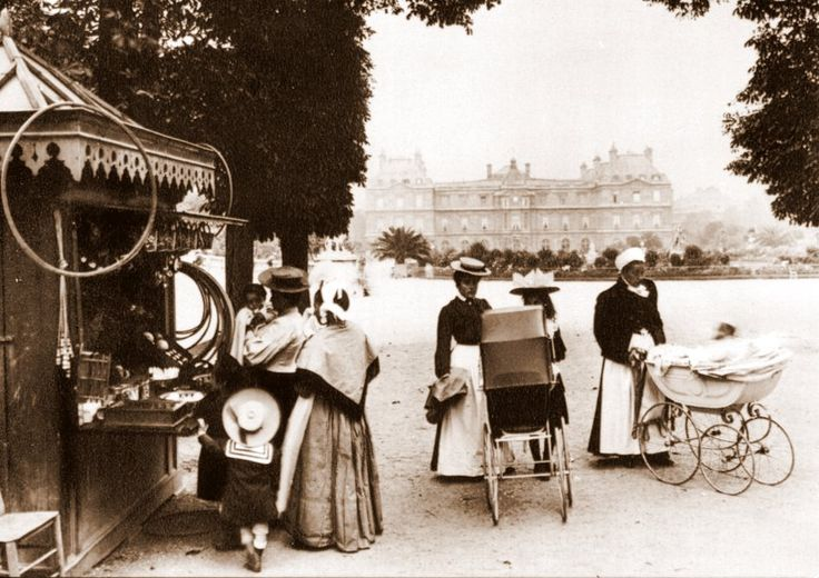 Luxembourg Gardens. Paris circa 1900