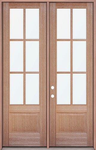 8 39 0 tall 6 lite mahogany prehung wood double door patio for Tall patio doors