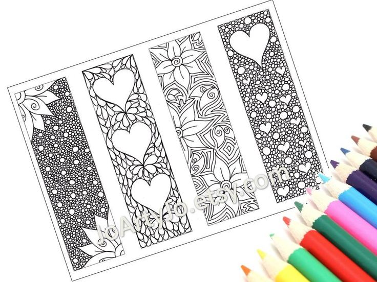Valentines Bookmarks To Print And Color Zentangle Inspired Hearts Flowers Printable Coloring