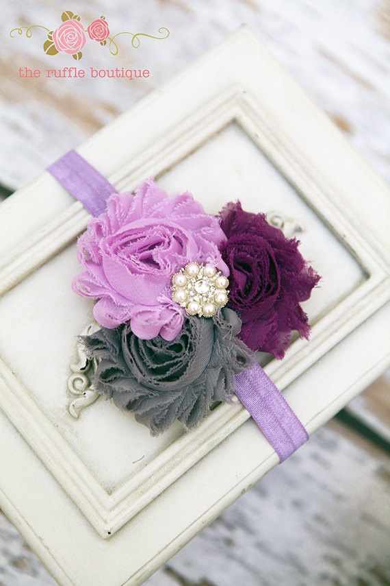 Purple, Grey & Dark Purple Headband, Baby Headband, Flower Headband, Shabby Chic Headband, Chiffon Headband. $6.95, via Etsy.