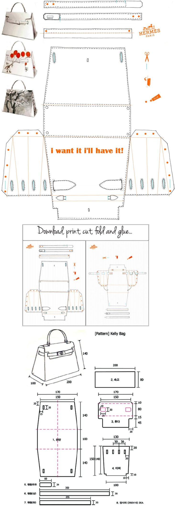 Hermès Kelly Bag Origami Paper Craft - i want it i'll have it! http://yesmissy.files.wordpress.com/2013/01/kelly_papier-plain.pdf                                                                                                                                                     Plus