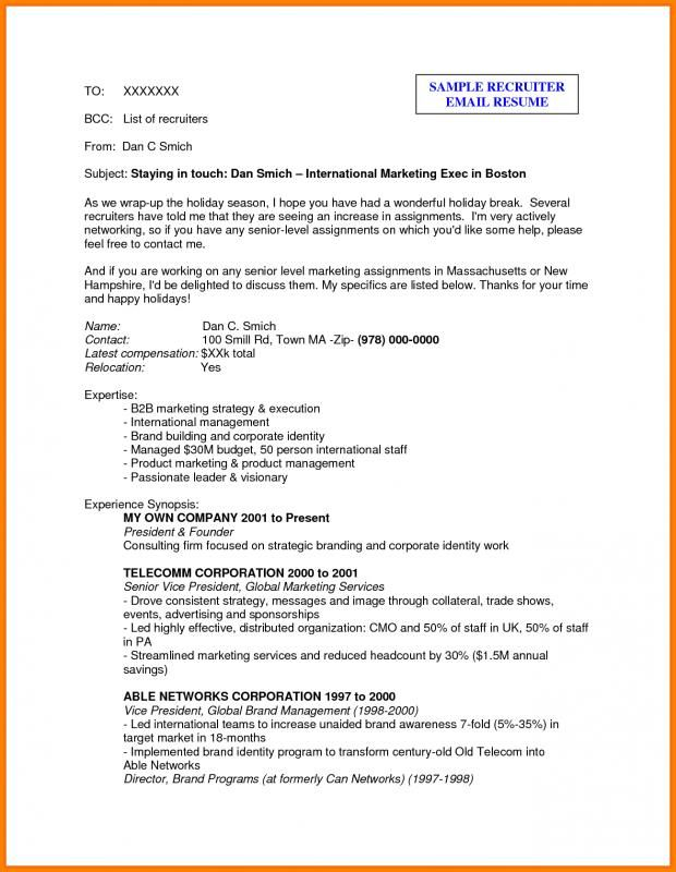 Sample Email To Recruiter template Sample resume, Resume, Resume