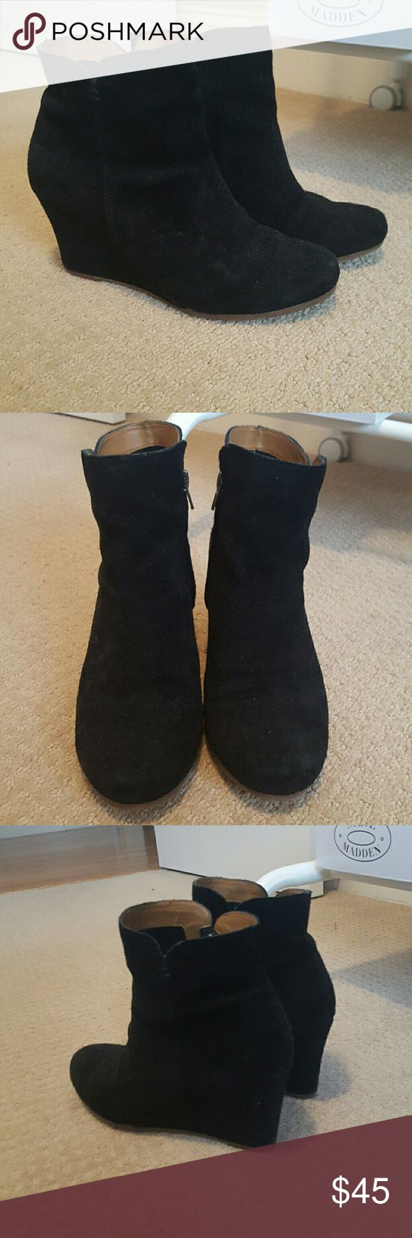 REAL SUEDE Dolce Vita booties Black suede wedge pump. Gorgeous for winter & transitional weather. Timeless & chic. Barely worn. Dolce Vita Shoes Ankle Boots & Booties