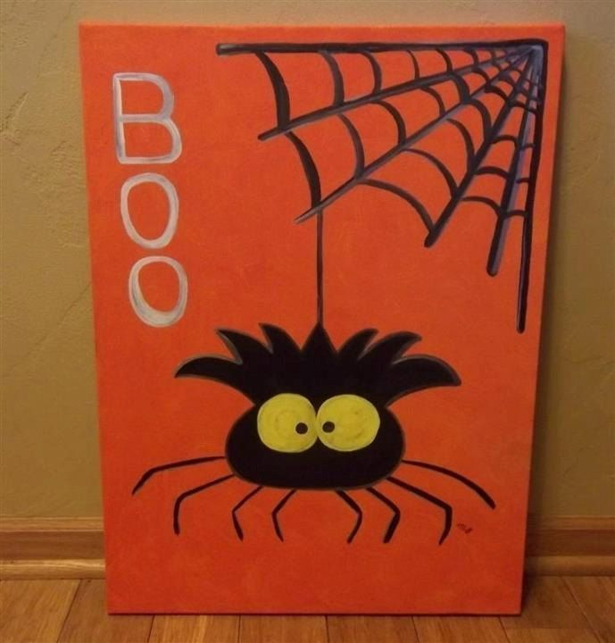 pictures of halloween paintings   Halloween Spider Painted Canvas Painting. $25.00, via Etsy.