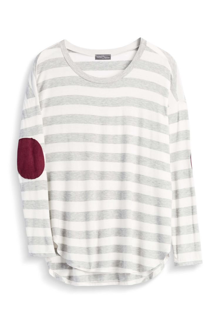 Stitch Fix Tee This is adorable. Love the elbow patch! Would look great with burgundy skinny jeans!