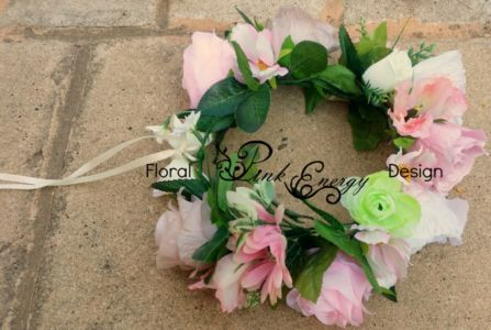 Full bridal flower crowns - adult size, adjustable - Style bold and chunky.