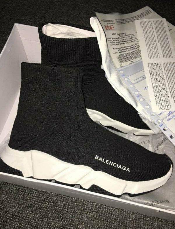 White Unisex Balenciaga Sock Shoes
