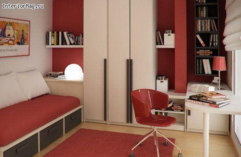Бело-красная детская комната