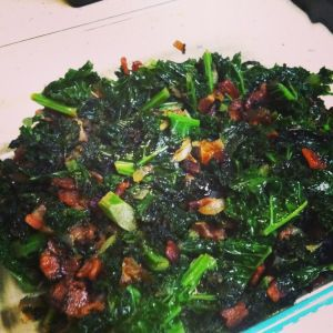 sauteed kale with bacon and onion - always a favorite go to! Add garlic too! #paleo #kale #bacon