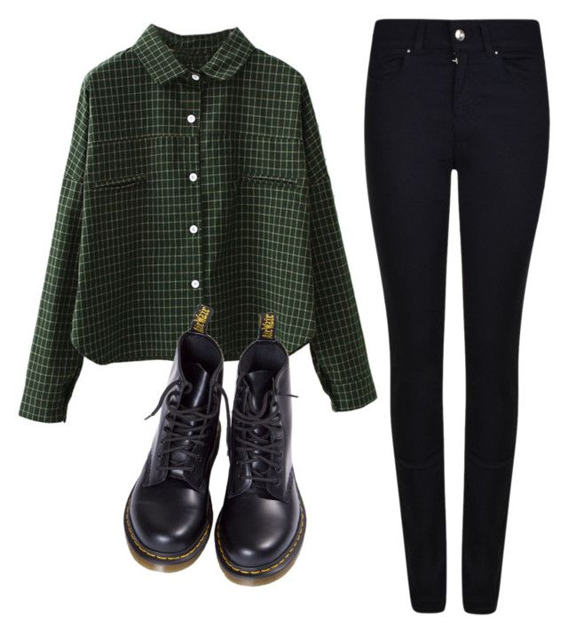 """K."" by nikka163 ❤ liked on Polyvore featuring WithChic, Armani Jeans and Dr. Martens"