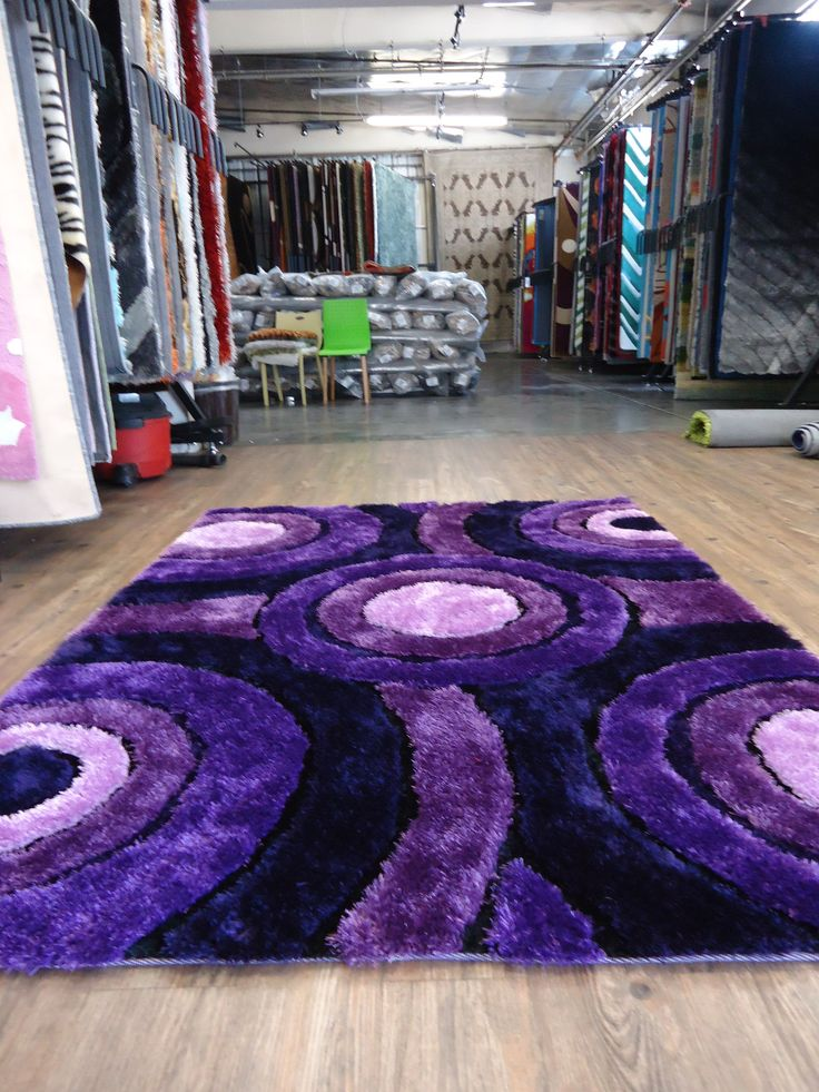 handmade vibrant lavender shag area rug with hand carved design