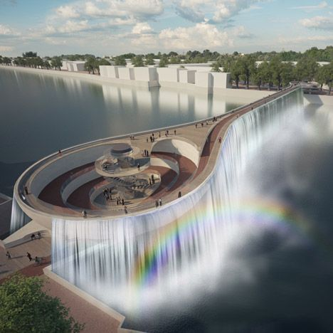 Waterfalls, rainbow-coloured latticework and bright red cycle lanes feature among proposals for a new pedestrian bridge across London's River Thames