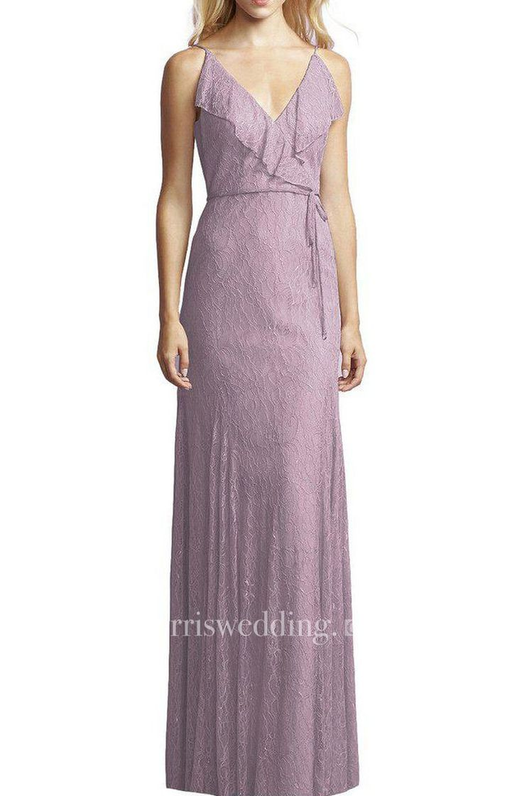 V-neck Lace Wrap Bodice Floor-length Bridesmaid Dress with Sash
