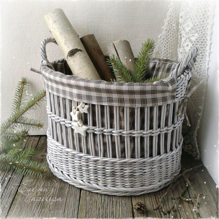 """Купить """"Норвегия"""" Большая корзина с текстильным чехлом - корзина плетеная, большая корзина, с чехлом, с ручками"""