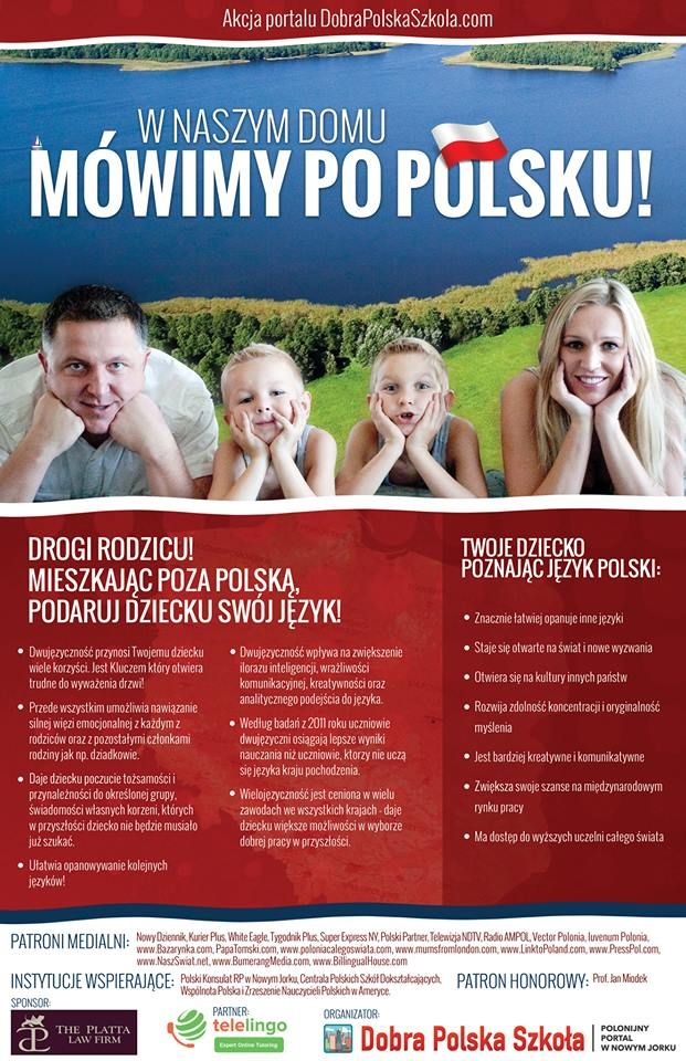 """We would like to remind you that the portal DobraPolskaSzkola.com conducts the social campaign """"We speak Polish at home!"""", which aims to popularise the needs of talking with children in Polish, pay more attention to this issue and improve children's pronunciation.  Link to Poland support the campaign """"We speak Polish at home!"""""""