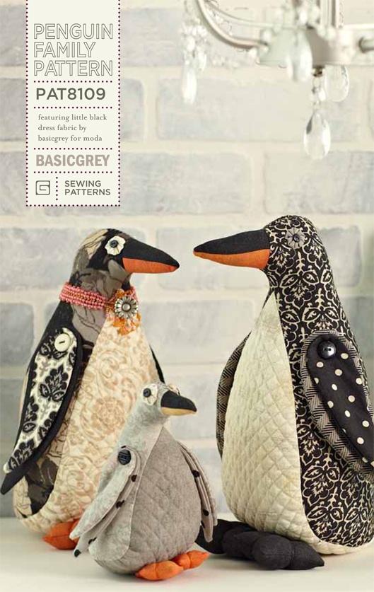 Penguin Family Pattern: Basic Grey