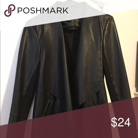 Black Faux Waterfall Leather Jacket Forever 21 faux leather jacket, very flattering! Forever 21 Jackets & Coats