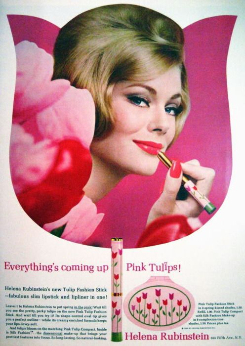 Old Ads and Mags~pink tullips Helena Rubinstein