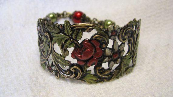 Victoriaanse Art Nouveau antiek messing rood door VermontJewelryShop