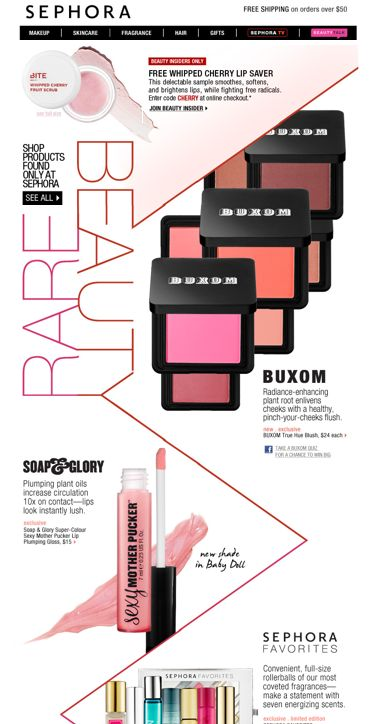 Another visual win from Sephora. View the web version to get the full effect of the lines drawing your eyes beyond the fold.