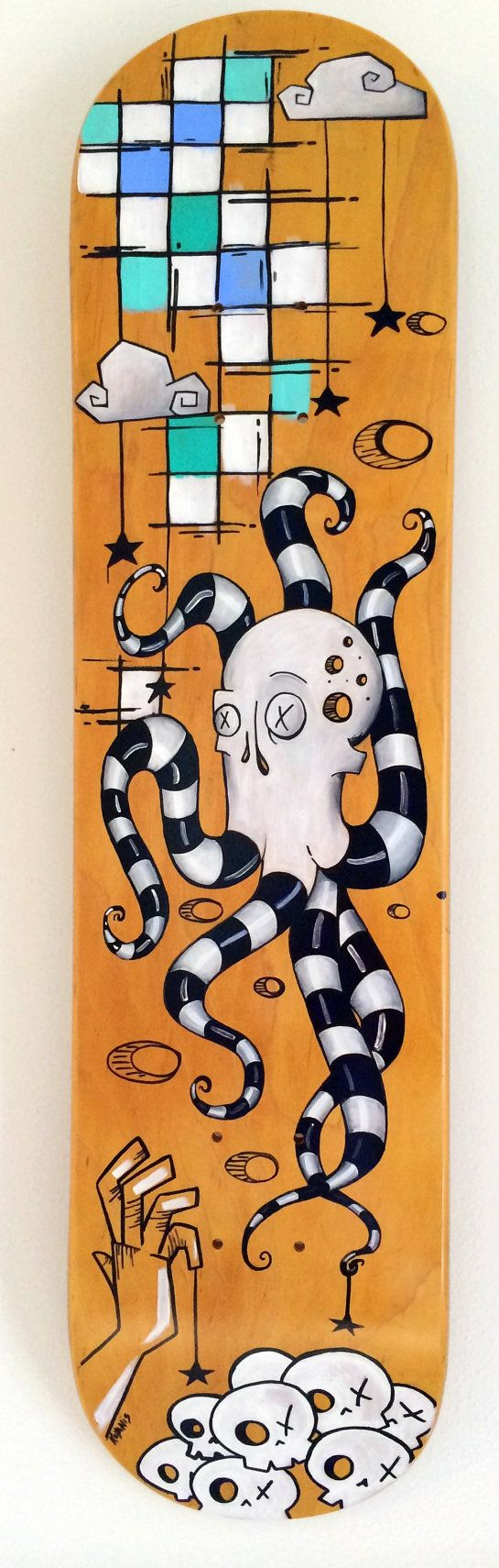 "Skateboard Art ""Video Game"" Original Surreal Painting on Skateboard Deck"