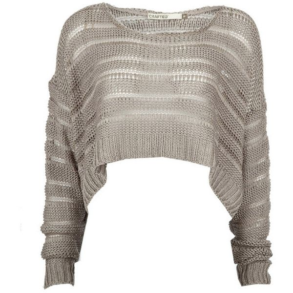 Crafted Cropped Long Sleeve Grunge Knit ($40) ❤ liked on Polyvore
