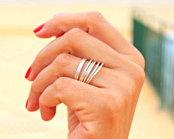 OMG 7 Silver Rings -  Simple Ring - Delicate Rings - Minimalist Rings -  .925 Sterling Silver Filled Rings-  Set of 7 Stacking Rings on Etsy, $22.48 CAD