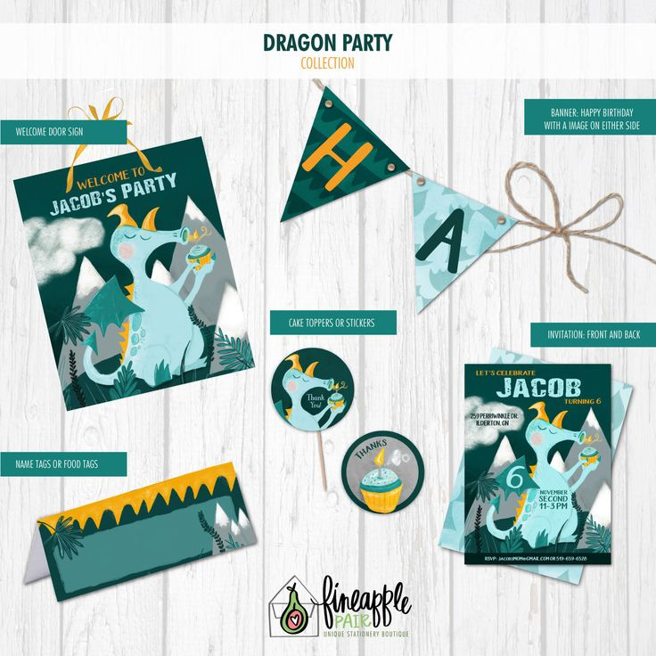 Dragon Birthday, Dragon Birthday Invite, Boy Birthday, Dragon Party, Dragon Invitation, cupcake, teal, orange, Dragon by FineapplePair on Etsy
