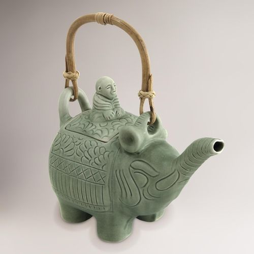 Novica buddha and the jade elephant ceramic teapot in from cost plus world market on shop - Elephant cast iron teapot ...