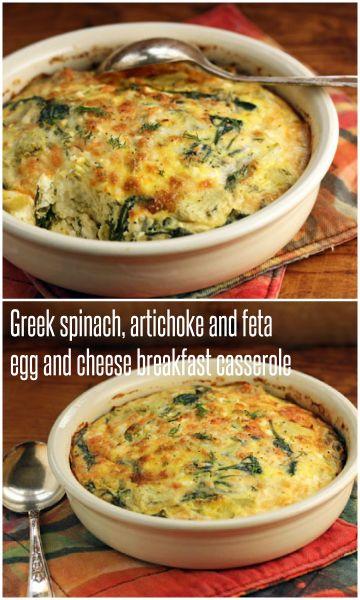 Greek spinach, artichoke and feta egg and cheese casserole recipe (for ...