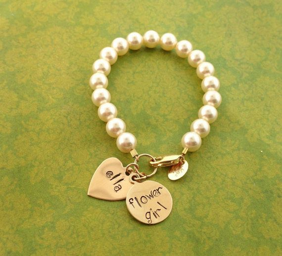 Swarovski Pearl Bracelet with Name/Saying/Phrase/bridesmaids gifts/Flower Girl Gift on Etsy, $48.00