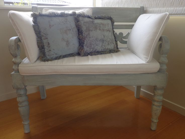 Painted bench - Newton's Chalk Paint Duck Egg Blue - and painted cushions.