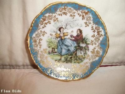 Vintage Limoges France Miniature Plate With Courting Scene Signed - pinned by pin4etsy.com