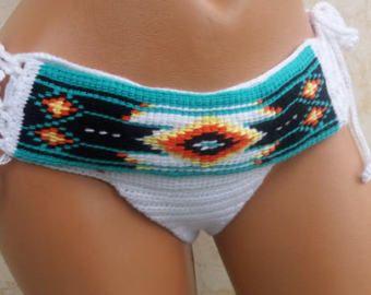 Ethnic pattern Summer Festival Crochet bikini bottom,beachwear lace bikini bottoms,Ethnic bikini bottom,Boho Brazilian Bikini by RoseClef