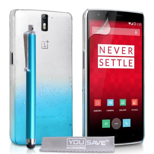 Yousave Accessories OnePlus One Case Blue / Clear Raindrop Hard Cover With Stylus Pen