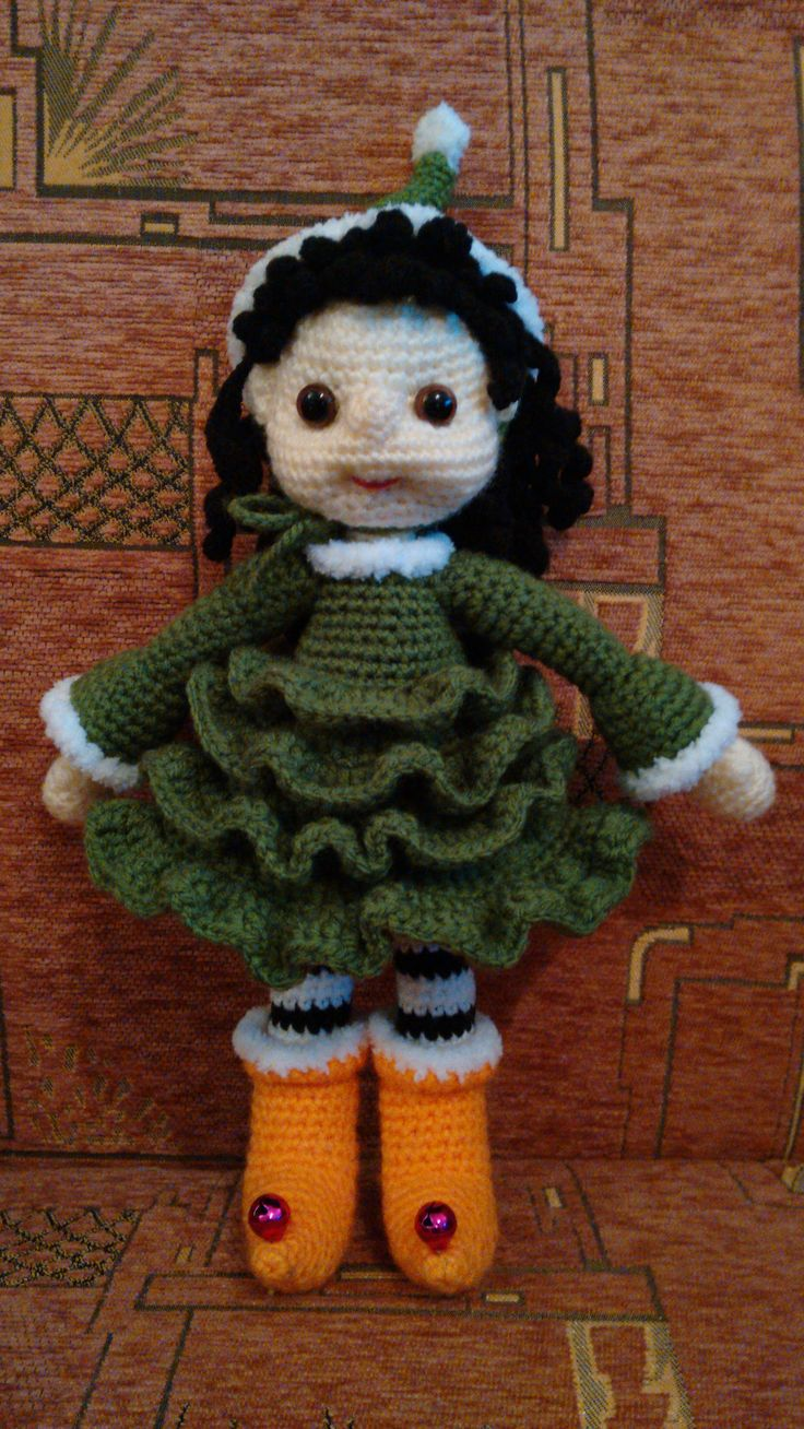 Doll with Christmas tree dress
