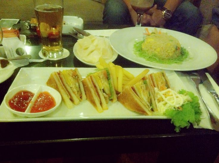 Sandwich and fried rice.