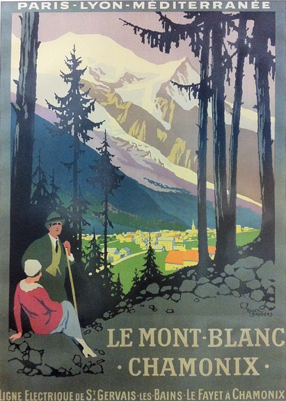 Le Mont Blanc Chamonix c.1924 Roger Broders (1883-1953) Another Roger Broders poster. This one for the French Railway - Paris Lyon Mediteranée Company (PLM), who commissioned Broders' poster art, sponsoring his travel so he could visit the locations he would later paint.