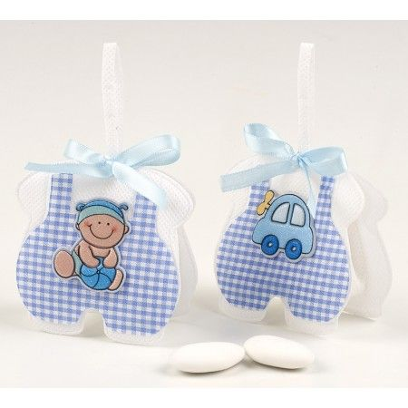Sacchettino Azzurro bebe/macchinetta e 3 confetti