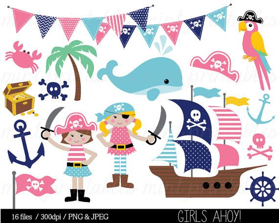Piraten Pirat Clipart Mädchen Wal Anker von mintprintables auf Etsy