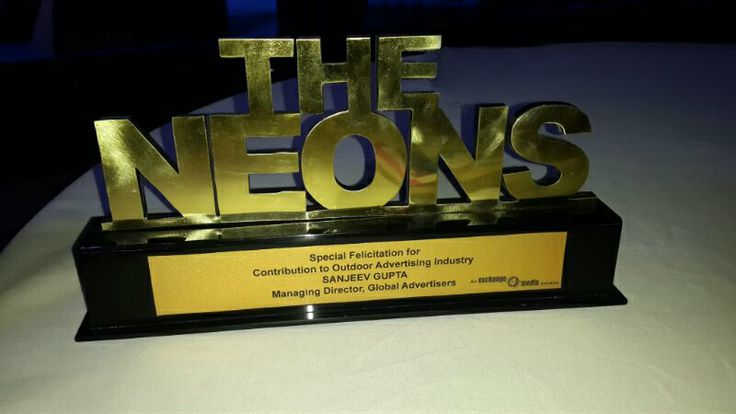 """@Global Advertisers bestowed with """"The Neon"""" award  at @exchange4media's annual OOH Award function in Gurgaon, New Delhi for its outstanding contribution to outdoor advertising industry. #OOH2014 #Award"""
