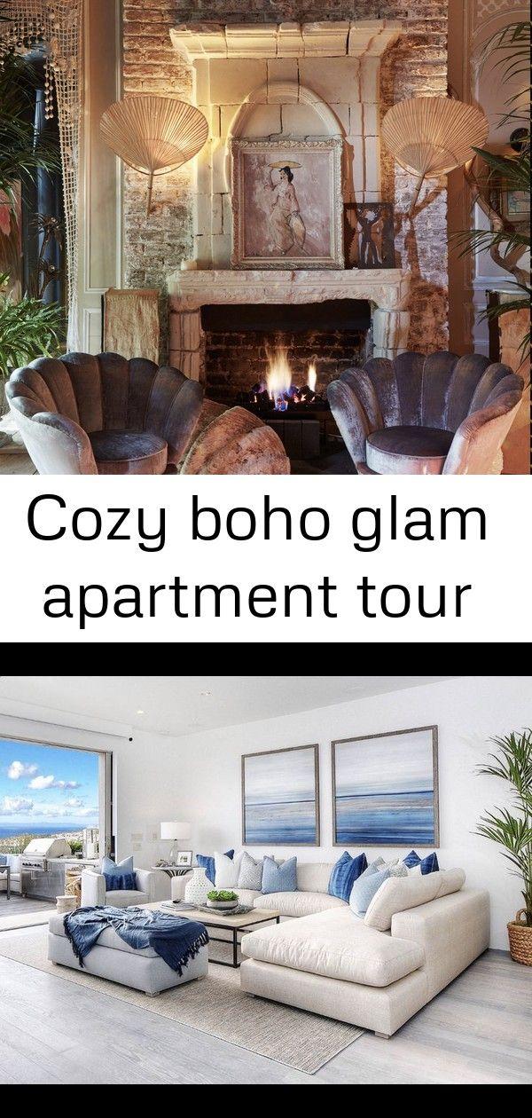 Cozy boho glam apartment tour | Luxury living room decor ...