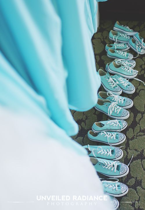 Gift each bridesmaid a pair of sparkly all night dancing shoes! #chucks #converse #diy