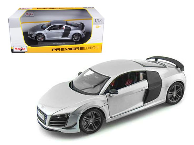 Audi R8 GT Silver 1/18 Diecast Model Car by Maisto - Brand new 1:18 scale diecast model car of Audi R8 GT Silver die cast model car by Maisto. Has steerable wheels. Item Number: 36190. Brand new box. Rubber tires. Has opening hood, doors and trunk. Made of diecast with some plastic parts. Detailed interior, exterior. Dimensions approximately L-10, W-4, H-3.5 inches. Please note that manufacturer may change packing box at anytime. Product will stay exactly the same.-Weight: 4. Height: 8…