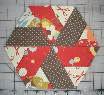 love this quilt block, could make this by sewing two long pieces then cutting into equilateral triangles