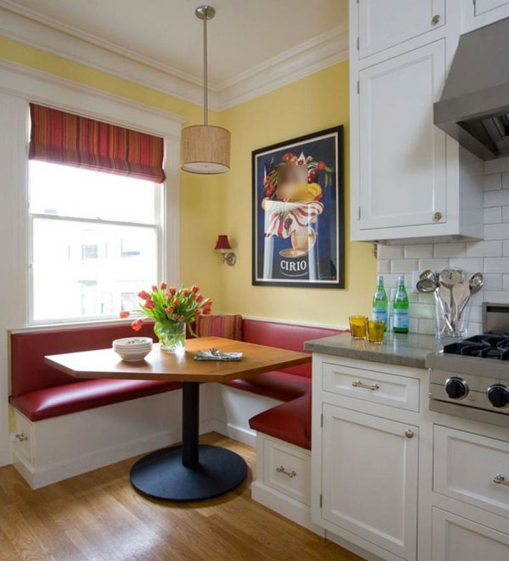 Furniture, Appealing L Shaped Red Leather Kitchen Nook Wood Dining Table With Black Leg White Window With Striped Window Coverings Yellow Accent Wall Wood Pendant Lamp Wall Lamp Wall Painting Light Wood Flooring: Knowing Best Kitchen Nook Ideas