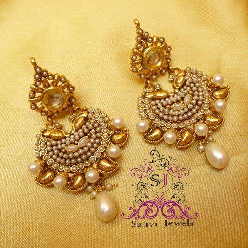Pearl Kundan Paisley Earrings