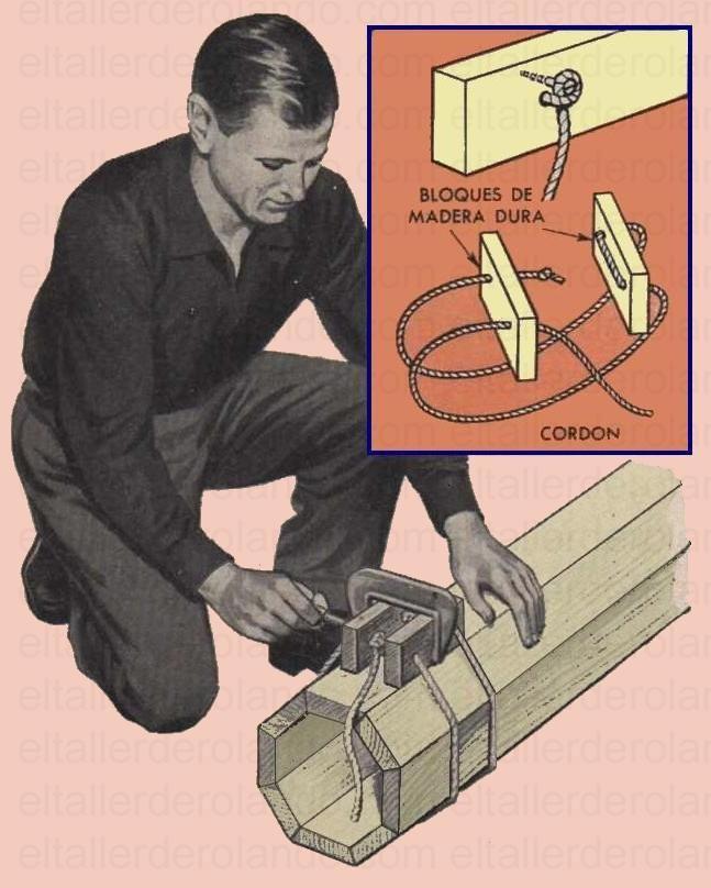 PRENSAS DE CUERDA PARA ENCOLAR LAS PIEZAS DE UNA COLUMNA AGOSTO 1956 002 copia